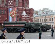 Купить «Российская зенитная ракетная система большой и средней дальности, зенитный ракетный комплекс (ЗРК) С-400 «Триумф» во время парада в День Победы, Москва», фото № 31671751, снято 9 мая 2019 г. (c) Free Wind / Фотобанк Лори