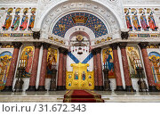 Купить «Interior of the Naval Cathedral of St. Nicholas the Wonderworker in Kronstadt, St. Petersburg, Russia», фото № 31672343, снято 25 мая 2018 г. (c) Наталья Волкова / Фотобанк Лори