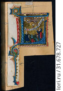 Купить «Three Cuttings from a Missal: Initial L with the Annunciation to the Shepherds, c. 1470-1500. Germany, Franconia or Saxony (?) or Silesia (?), 15th century...», фото № 31678727, снято 14 февраля 2019 г. (c) age Fotostock / Фотобанк Лори