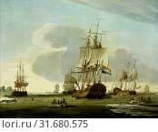 Купить «The Groenlandvaarder Zaandam of the Shipping Company Claes Taan and Son, Zaandam, on a Whale Hunt , Jochem de Vries, 1772», фото № 31680575, снято 16 ноября 2014 г. (c) age Fotostock / Фотобанк Лори
