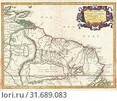 Купить «1656, Sanson Map of Guiana, Venezuela, and El Dorado», фото № 31689083, снято 26 января 2017 г. (c) age Fotostock / Фотобанк Лори