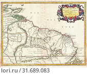 1656, Sanson Map of Guiana, Venezuela, and El Dorado (2017 год). Редакционное фото, фотограф © Artokoloro Quint Lox Limited / age Fotostock / Фотобанк Лори