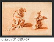 Купить «Anton Kern after Giovanni Battista Pittoni (Bohemian, 1709 - 1747), A Kneeling Woman with an Incense Burner and a Page Holding a Crown and Scepter, c....», фото № 31689467, снято 16 февраля 2011 г. (c) age Fotostock / Фотобанк Лори