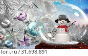 Купить «Cute Christmas animation of snowman and glittery baubles on the Christmas tree 4k», видеоролик № 31698891, снято 26 октября 2018 г. (c) Wavebreak Media / Фотобанк Лори