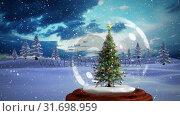 Купить «Christmas animation of decorative Christmas tree in snow globe in magical forest 4k», видеоролик № 31698959, снято 26 октября 2018 г. (c) Wavebreak Media / Фотобанк Лори