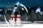 Купить «Cute Christmas animation of snowman couple in magical forest 4k», видеоролик № 31699027, снято 26 октября 2018 г. (c) Wavebreak Media / Фотобанк Лори