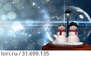 Купить «Cute Christmas animation of snowman couple in snow globe 4k», видеоролик № 31699135, снято 26 октября 2018 г. (c) Wavebreak Media / Фотобанк Лори