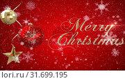Купить «Digital animation of christmas decoration with merry christmas text 4k», видеоролик № 31699195, снято 26 октября 2018 г. (c) Wavebreak Media / Фотобанк Лори