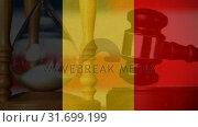 Купить «Conceptual digital animation of Belgium flag 4k», видеоролик № 31699199, снято 26 октября 2018 г. (c) Wavebreak Media / Фотобанк Лори