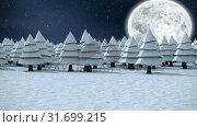 Купить «Winter scenery with full moon and falling snow», видеоролик № 31699215, снято 2 ноября 2018 г. (c) Wavebreak Media / Фотобанк Лори
