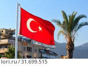 Турецкий флаг на фоне гостиницы. Алания. Турция (2015 год). Стоковое фото, фотограф Роман Рожков / Фотобанк Лори