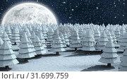 Купить «Winter scenery with full moon and falling snow», видеоролик № 31699759, снято 2 ноября 2018 г. (c) Wavebreak Media / Фотобанк Лори
