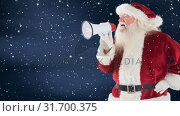 Купить «Santa clause yelling in a megaphone combined with falling snow», видеоролик № 31700375, снято 2 ноября 2018 г. (c) Wavebreak Media / Фотобанк Лори