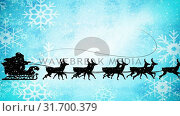 Купить «Video composition with snow over night winter scenery with  santa on sleigh», видеоролик № 31700379, снято 2 ноября 2018 г. (c) Wavebreak Media / Фотобанк Лори