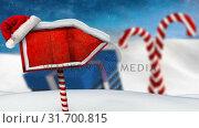 Купить «Video composition with snow over winter scene with red blank sign», видеоролик № 31700815, снято 2 ноября 2018 г. (c) Wavebreak Media / Фотобанк Лори