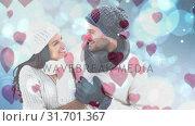 Купить «Happy couple looking at each other in cold weather», видеоролик № 31701367, снято 6 ноября 2018 г. (c) Wavebreak Media / Фотобанк Лори