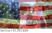 Купить «Conceptual digital animation showing a American soldier embracing her child on home returning 4k», видеоролик № 31701835, снято 12 ноября 2018 г. (c) Wavebreak Media / Фотобанк Лори