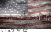 Digital animation of American flag swaying against cityscape 4k. Стоковое видео, агентство Wavebreak Media / Фотобанк Лори