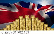 Flag of the UK behind money. Стоковое видео, агентство Wavebreak Media / Фотобанк Лори