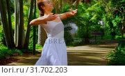 Купить «Young ballerina practicing dance in the park 4k», видеоролик № 31702203, снято 26 сентября 2018 г. (c) Wavebreak Media / Фотобанк Лори