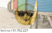 Купить «Sunglasses smiley at beach», видеоролик № 31702227, снято 20 ноября 2018 г. (c) Wavebreak Media / Фотобанк Лори