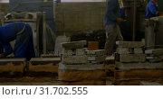 Купить «Workers working in foundry workshop 4k», видеоролик № 31702555, снято 27 сентября 2018 г. (c) Wavebreak Media / Фотобанк Лори