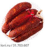 Купить «Spanish sausage chorizo on white background, closeup», фото № 31703607, снято 23 июля 2019 г. (c) Яков Филимонов / Фотобанк Лори
