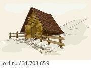 Old rustic wooden house. Стоковая иллюстрация, иллюстратор Михаил Гойко / Фотобанк Лори