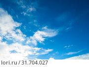 Купить «Голубое небо, небесный пейзаж. Blue dramatic sky background - colorful clouds lit by evening sunset light», фото № 31704027, снято 26 октября 2018 г. (c) Зезелина Марина / Фотобанк Лори