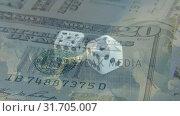 Купить «Dice and paper bills», видеоролик № 31705007, снято 26 марта 2019 г. (c) Wavebreak Media / Фотобанк Лори