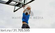 Купить «Basketball players playing basketball 4k», видеоролик № 31705595, снято 30 января 2019 г. (c) Wavebreak Media / Фотобанк Лори