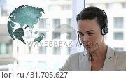 Купить «Call centre agent beside globe», видеоролик № 31705627, снято 5 апреля 2019 г. (c) Wavebreak Media / Фотобанк Лори