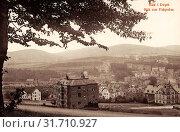 Buildings in Aue, 1909, Erzgebirgskreis, Aue, Blick vom Floßgraben, Germany (2019 год). Редакционное фото, фотограф Copyright Liszt Collection / age Fotostock / Фотобанк Лори