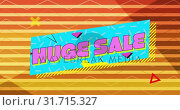 Купить «Huge sale graphic in pink on blue banner with orange striped background», видеоролик № 31715327, снято 5 июля 2019 г. (c) Wavebreak Media / Фотобанк Лори
