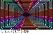 Moving through a neon lit rectangular tunnel. Стоковое видео, агентство Wavebreak Media / Фотобанк Лори
