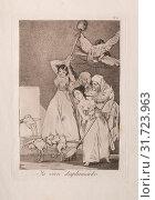 Caprichos: There They Go Plucked (i.e. fleeced). Francisco de Goya (Spanish, 1746-1828). Etching and aquatint (2019 год). Редакционное фото, фотограф Liszt Collection / age Fotostock / Фотобанк Лори
