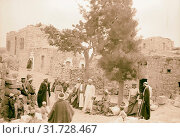Halhul village at kilometer 30 on Hebron road Outside the guest chamber in Halhul village. 1940, West Bank, ?al?ul, Middle East (2018 год). Редакционное фото, фотограф © Liszt Collection / age Fotostock / Фотобанк Лори