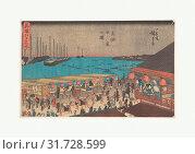 Æ–°æ'°æ±Ÿæˆ¸å所 高輪廿六夜之図, Takanawa Ni-ju-roku Ya, Edo period (1615–1868), ca. 1840, Japan, Polychrome woodblock print, ink and color... (2017 год). Редакционное фото, фотограф © Copyright Artokoloro Quint Lox Limited / age Fotostock / Фотобанк Лори