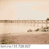 German Baghdad Railway, Wooden railroad bridge over Euphrates River 1900, Middle East (2018 год). Редакционное фото, фотограф © Liszt Collection / age Fotostock / Фотобанк Лори
