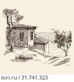 Old wooden hut. Стоковая иллюстрация, иллюстратор Михаил Гойко / Фотобанк Лори
