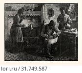 PREPARING THANKSGIVING DINNER.-DRAWN S. G. MCCUTCHEON , US, USA, AMERICA, UNITED STATES, AMERICAN, ENGRAVING 1880 (2013 год). Редакционное фото, фотограф Artokoloro / age Fotostock / Фотобанк Лори
