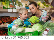 Woman and son choosing vegetables. Стоковое фото, фотограф Яков Филимонов / Фотобанк Лори