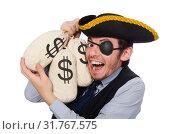 Купить «Businessman pirate isolated on white background», фото № 31767575, снято 16 марта 2015 г. (c) Elnur / Фотобанк Лори