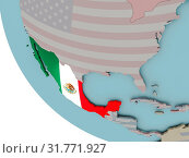 Купить «Map of Mexico on political globe with embedded flags. 3D illustration.», фото № 31771927, снято 25 января 2020 г. (c) easy Fotostock / Фотобанк Лори