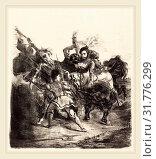 Eugène Delacroix (French, 1798-1863), Weislingen Attacked by the Forces of Goetz (Weislingen attaqué par les gens de Goetz), 1836, lithograph (2014 год). Редакционное фото, фотограф Artokoloro / age Fotostock / Фотобанк Лори