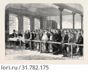 Купить «THE COTTON FAMINE: DISTRIBUTING TICKETS FOR BREAD, SOUP, MEAT, MEAL, COAL, ETC., AT THE OFFICE OF A DISTRICT PROVIDENT SOCIETY, MANCHESTER, 1862», фото № 31782175, снято 3 января 2013 г. (c) age Fotostock / Фотобанк Лори