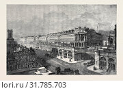 Купить «VIEW OF THE PROPOSED HIGH LEVEL ROAD OR VIADUCT FROM ST. SEPULCHRE'S CHURCH TO HATTON GARDEN, LOOKING WEST, BY F. MARRABLE, IN THE EXHIBITION OF THE ROYAL ACADEMY, LONDON.», фото № 31785703, снято 3 января 2013 г. (c) age Fotostock / Фотобанк Лори