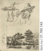 Купить «Study Journal of three figures, one is fishing, head of an older man with beard and hat and a landscape with a river, trees and a farm, print maker: David van der Kellen (II), Dating 1841 - 1878», фото № 31789143, снято 28 декабря 2014 г. (c) age Fotostock / Фотобанк Лори