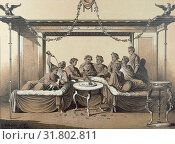 Купить «Triclinium, dinner in a formal Roman dining room, food and drink, man, interior, couch, chaise longue, klinai, feasting, roman domestic life, triclinia, 19th century engraving, liszt gourmet archive», фото № 31802811, снято 20 октября 2019 г. (c) age Fotostock / Фотобанк Лори