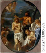 The Baptism of Christ, ca. 1650, Oil on canvas, Overall 59 3/4 x 46 1/2 in. (151.8 x 118.1 cm), painted surface (oval) 59 1/8 x 45 1/2 in. (150.2 x 115... (2017 год). Редакционное фото, фотограф © Copyright Artokoloro Quint Lox Limited / age Fotostock / Фотобанк Лори